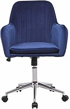 Blue Velvet Office Chair with Arms and Back