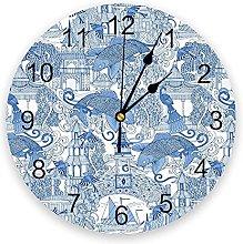 Blue Wall Clock Home Decor Bedroom Silent Oclock