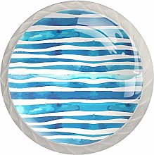 Blue Water Wave Cabinet Knobs 4 Pack 30MM Cupboard