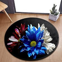 Blue White And Red Gerbera Flowers Area Rugs Round