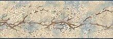 Blue White Japanese Floral Wallpaper Border