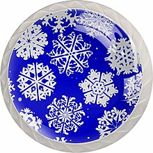 Blue White Snowflake 4 Pieces Crystal Glass