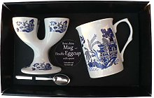 Blue Willow Double eggcup with Egg Spoon and Bone