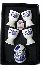 Blue Willow Egg Cup Set 4 Egg Cups & China Egg