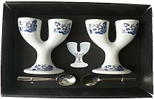 Blue Willow Pattern Double eggcups Set of 2 Gift