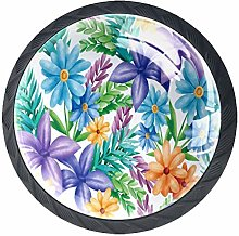 Blue Yellow Purple Florals Green Leaves Cabinet
