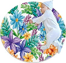 Blue Yellow Purple Florals Green Leaves Kids Round