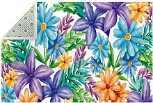 Blue Yellow Purple Florals Green Leaves Soft Floor