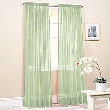 Bluelans® Woven Voile Slot Top Curtain Panel Pure