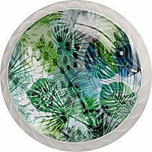 Blurred Fantasy Green Leaves 4 Pieces Crystal