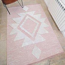 Blush Pink Cotton Flatweave Carpet Rug Cream