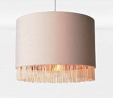Blush Pink Velvet With Copper Inner Tassled Light
