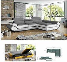 BMF GENESIS MINI GREY WHITE MODERN Corner Sofa Bed