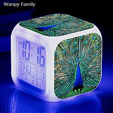 BMSYTY Peacock LED alarm clock 7 color changing