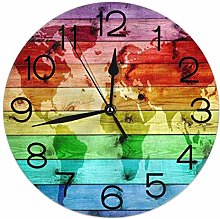BNTECHGO Round Wall Clock Rainbow World Map with