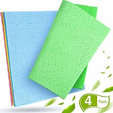 Boao 4 Pieces Sponge Wash Cloth Absorbent Dish