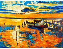 Boat By The Dock At Sunset Large Wall Art Print