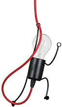 Bobi 1 hanging light in black, red cable, 1-bulb