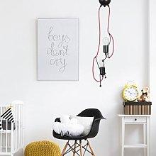Bobi 2 pendant light in black, red cable, 2-bulb