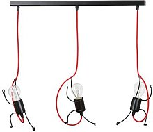 Bobi 3 hanging light in black, red cable, 3-bulb