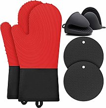 BOCHION Oven Glove Set, Silicone Heat Resistant