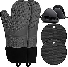 BOCHION Oven Gloves, Extra Long Silicone Mitts