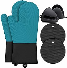 BOCHION Oven Gloves Set, Double Silicone Heat