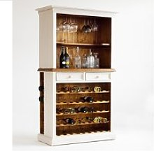 Boddem Display Cabinet In White Pine With Wine Rack