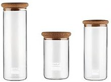 Bodum Yohki Set Of 3 Storage Jars With Cork Lid