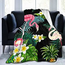BODY Fleece Throw Blanket Flamingos With Palm