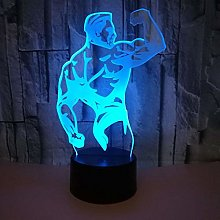 Bodybuilder 3D Night Light Colorful Remote 3D