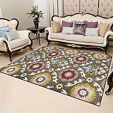 Bohemian Rug Yellow Red Brown Vintage Carpet Game