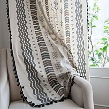 Bohemian Window Curtain Panel With Tassels,linen