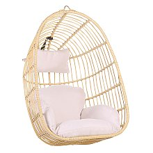Boho Beige Rattan Hanging Chair without Stand
