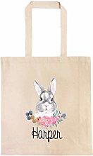 Boho Bunny Personalized Egg Hunt Bag, Custom