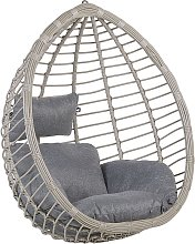 Boho Grey Rattan Hanging Chair without Stand