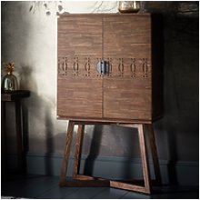 Boho Retreat Style Brown Solid Wood Drinks Cabinet