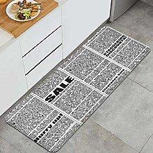 BohoMonos Kitchen Rug,four newspaper columns and