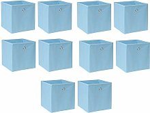 BOJU 10 PCS Foldable Storage Cubes Boxes Blue for