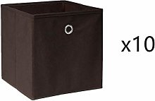 BOJU 10 PCS Foldable Storage Cubes Boxes Brown for