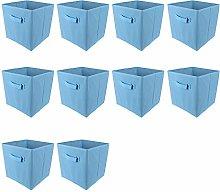 BOJU 10pcs Foldable Storage Box Blue