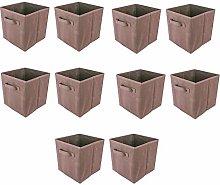 BOJU 10pcs Foldable Storage Box Small Brown