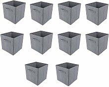BOJU 10pcs Foldable Storage Box Small Grey