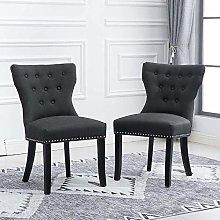 BOJU 2 Kitchen Armless Dining Chair Set Charcoal