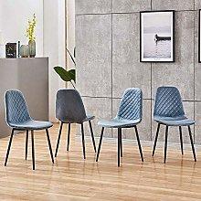 BOJU 4 Blue Dining Room Chairs Velvet Fabric Set