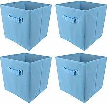BOJU 4pcs Foldable Canvas Storage Box Blue Fabric