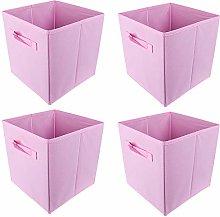 BOJU 4pcs Foldable Canvas Storage Box Collapsible