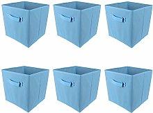 BOJU 6pcs Foldable Canvas Storage Box Blue Fabric