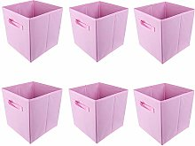 BOJU 6pcs Foldable Canvas Storage Box Collapsible