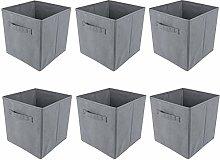 BOJU 6pcs Foldable Canvas Storage Box Grey